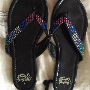 Girls Embellished Black Flip Flop Shoes 3 Youth